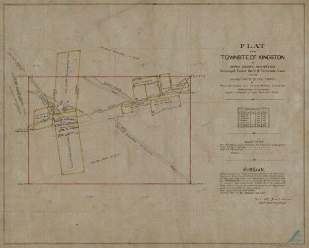 kingston town site survey 1887