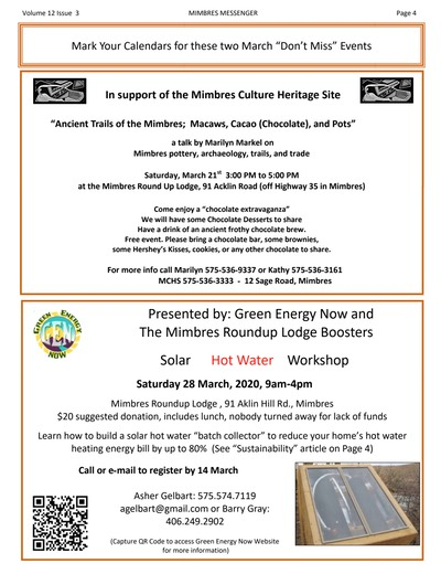 Mimbres Events March 2020