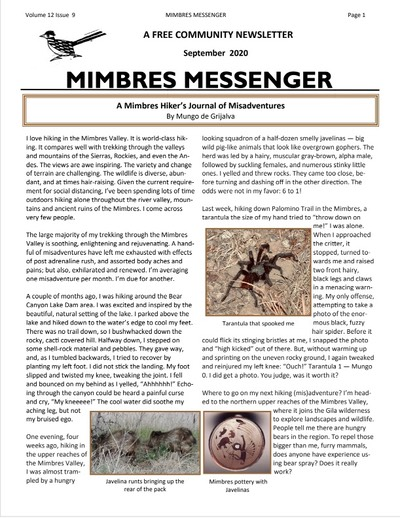 MIMBRES MSGR SEPT 20 cover